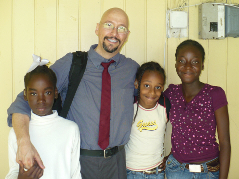 Dr. Bill at a Deaf School during the ASL Safari.